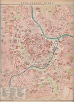c. 1890 AUSTRIA VIENNA CITY PLAN Antique Map