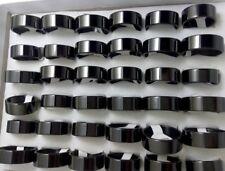 Job lot 50pcs Simple Plain Stainless Steel black rings Men Women Fashion Jewelry