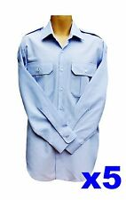 5 x New Mens Epaulette Shirts Taxi Bus Aviator Security Blue Large L 41