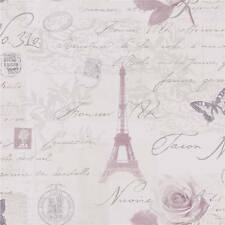 Heather - Lilac / Silver - 97751 Calligraphy French Paris Holden Decor Wallpaper
