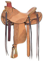 Western Natural Leather Hand Carved Hard Seat Roper Wade Saddle 15""