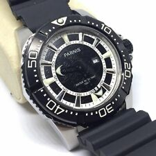 Rare Parnis Vintage Mens 100M Divers Watch Swiss Quartz Sports Stainless Steel