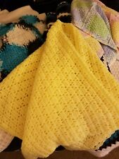 Handmade Crochet Baby Blanket Yellow Diamonds