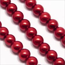 Lot de 100 perles Nacrées 4mm Bordeaux Verre de Bohème