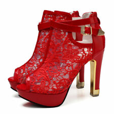 RED Women Sexy Lace Flower Open Toes Party High Heels Ankle Boot Sandal Shoes