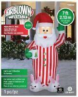 CHRISTMAS SANTA PAJAMAS BUNNY SLIPPER INFLATABLE AIRBLOWN YARD DECORATION 7 FT