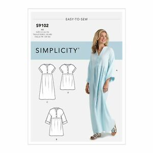 S9102 Misses Caftan Dresses Simplicity Easy Sewing Pattern Sizes 6-14 & 16-24