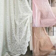 Lace Embroidery Floral Curtains Fabric Panel Net Tulle Window Drape Sheer Modern
