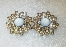 Fashion Earrings Vintage Old Glamour Inspired Rhinestones Gold tone Flower