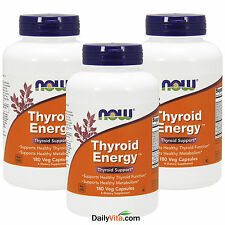 3 x NOW Thyroid Energy 180 Veg Caps, Thyroid Support, Metabolism Support, FRESH