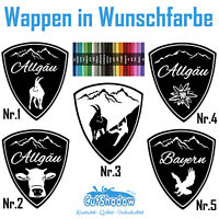 Wappen Aufkleber Sticker Allgäu Bayern Berge Klettern Wandern Auto bavaria decal
