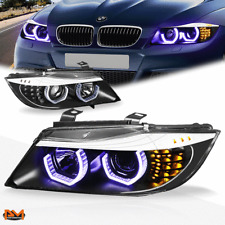 For 06-08 BMW E90 3-Series Blue LED 3D Crystal U-Halo Projector Headlight Black