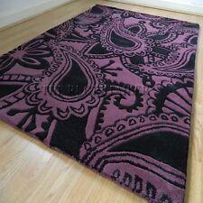 Art Mix Duke Aubergine & Black Modern Wool Rugs 120X170CM To Clear RRP£130.00