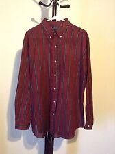 Men's BRISTOL Blues Button Long Sleeve Cotton  Macron Red Striped Shirt Size XL