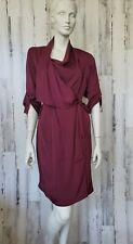 BCBG Maxazria Burgundy Wrap Dress 3/4 Sleeve Sz S