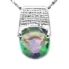 4.49 CT DIAMOND & GREEN MYSTIC GEMSTONE PLATINUM OVER STERLING SILVER PENDANT