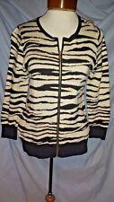 Ann Taylor Womens Small Black White Zebra Stripe Full Zip 3/4 Sleeve Cardigan