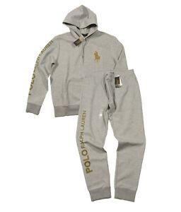 Polo Ralph Lauren Men's Gray Big Gold Pony Logo Double Knit Hoodie & Pant Set