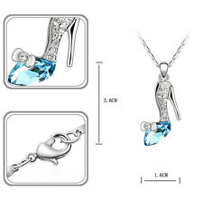 Girl Cinderella's Charm Magic Crystal Diamond High Heel Shoes Pendant Necklace