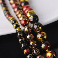 Bright Spots Plated 6mm 8mm 10mm Round Crystal Glass Loose Beads Lot DIY Jewelry