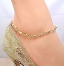 PRETTY TURKISH ROUND FIGARO 14Kt Gold CLAD ANKLET ANKLE  BRACELET  9 TO 12.5