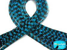 4 Pieces - TURQUOISE BLUE Thin Long Grizzly Rooster Hair Extension Feathers