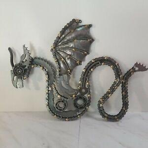 Steampunk Industrial Scrap Metal Chainsaw Folk Art Welded DRAGON Sculpture 22x20