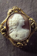 RARE ANTIQUE HAND CARVED NATURAL SHELL CAMEO BROOCH PENDANT QUEEN CHARLOTTE 1840