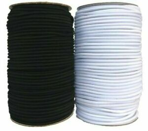 Black & White 1mm 1.5mm 2mm 3mm Round Elastic Polyester Cord Sewing Craft Masks
