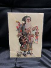 More details for rare vintage 1991 torian designs die-cut santa st nicholas christmas blank card