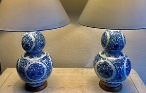 Pair (2)Ralph Lauren Large Zen Koi Fish Porcelain Ceramic Blue White Table Lamps