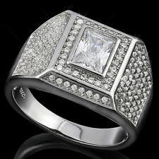 Awesome Men's Ring With Cubic Zirconia in 925 Sterling Silver Size 9.5