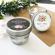 24 4oz Mason Jars Personalized Rustic Floral Garden Wedding Bridal Shower Favors