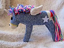 ✨ Sock Monkey Rainbow Maned Blue Alicorn (Unicorn and Pegasus) with Star Tattoo