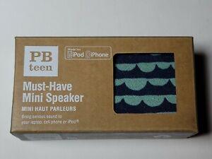 PB Teen Must Have Mini Speaker Scalloped Navy Blue Teal Cloud Design HG3