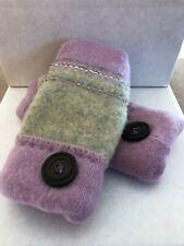 Handmade Sweater Mittens Purple/Gray