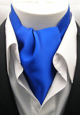 New Modern Day Silk Ascot Cravat Tie Royal Blue Extra Long