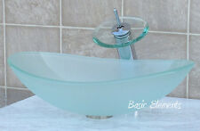Bathroom Frosted Oval Glass Vessel Vanity Sink + Chrome Faucet & Drain TB15FD4