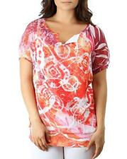 AMAZING SEXY ORANGE WATERCOLOR  SUBLIMATION V-NECK BLOUSE TOP OXL