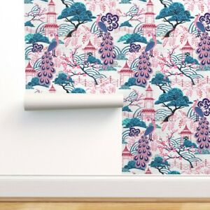 Peel-and-Stick Removable Wallpaper Chinoiserie Chinese Pink Peacock Pink Peacock