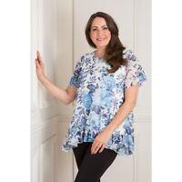 NICOLE COLLECTION MESH PRINT LONGLINE TOP Blue Floral Blouse M / UK 12-14 - NEW