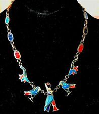 VTG NAVAJO TURQUOISE BIRD INLAY STERLING SQUASH BLOSSOM STYLE NECKLACE, YAZZIE