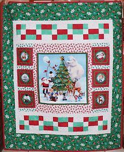 """Rudolph the Red Nosed Reindeer & Friends Handmade Quilt & Pillow 49"""" x 59"""""""
