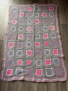 "Handmade Crochet Baby Blanket Cot Pram Cradle Car Seat   40"" x 27"" Grey Pink"