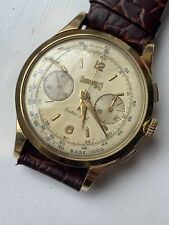 Eberhard & Co. Extra Fort Chronograph Oversize 39mm 18K Gold Watch Valjoux 16000