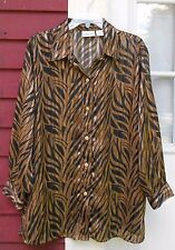 "FASHION BUG Brown/Black/Gold Metallic L/S Button Semi-Sheer Shirt 18/20 (51"")"