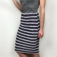 English Factory Blue White Tweed Striped Pencil Skirt Women's Size Medium