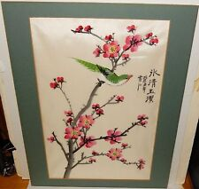 CHINESE ORIGINAL WATERCOLOR BLOSSOM BIRD SILK PAINTING SIGNED