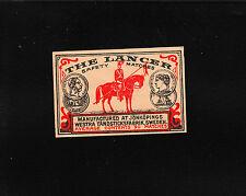 VINTAGE Match Matchbox Label DEEP RICH COLOR The Lancer Horse Rider Medals B1