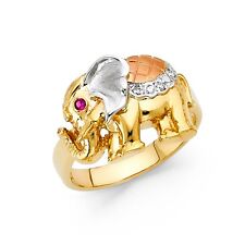 CZ Elephant Ring Solid 14k Yellow White Rose Gold Good Luck Band Fancy Tri Color
